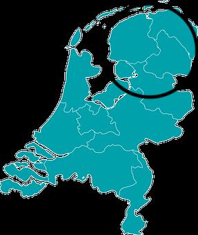 Werkgebied van De Blauwe Fenix: Noord Nederland en Noord Overijssel. Dicht